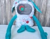 Hug Monster with Rabbit ears, kid plush, baby shower, christmas,  easter or birthday gift, easter bunny, soft toy, monster doll, kid plush
