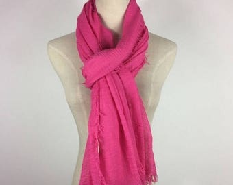 Summer Sale 30% Off Sale Fuchsia Scarf Fringe Scarf Pink Scarf Summer Scarf Fuchsia Shawl Soft Scarf Solid Color Scarf Large Scarf Gift For