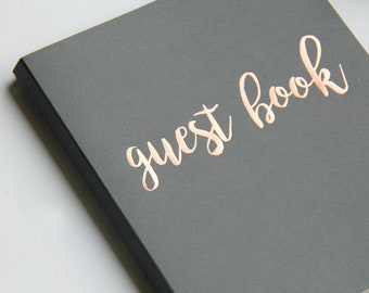 """Fast Shipping > Photo Guest Book Wedding Guest Book Alternative. Instant Photo Guestbook Wedding, Grey & Rose Gold, Flat-Lay 8.5""""x7"""",100 pgs"""
