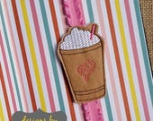 iced coffee frap cup cold drink book band for planner or homework bookmark with elastic applique embroidery digital file design for monogram