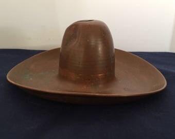 Vintage Copper Cowboy Hat Ashtray