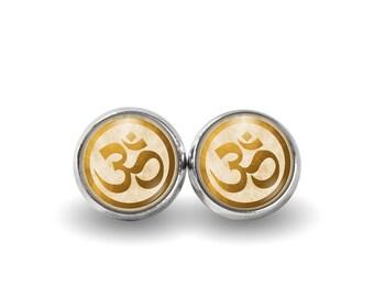 Om Circle Stud Earrings | Om Earrings Om Jewelry Boho Earrings Mantra Jewelry Yoga Earrings Grunge Earrings Buddhist Jewelry Gold Hindu
