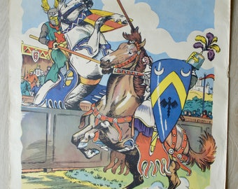 "Poster, vintage school map editions Fernand Nathan, 50's, ""Knights tournament"""