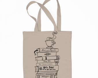 Book Stack - Book Lovers - Literature - 6 oz. Canvas Tote Bag