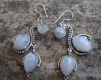 Sale Sterling Silver Natural Rainbow Moonstone Earrings - Sterling Silver Moonstone Earrings - Natural Stone Earrings - Moonstone Earrings
