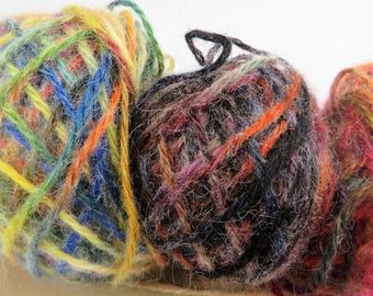 Stash Sale- Hand painted  art yarn, three small balls, rainbow  hand dyed , creative colours