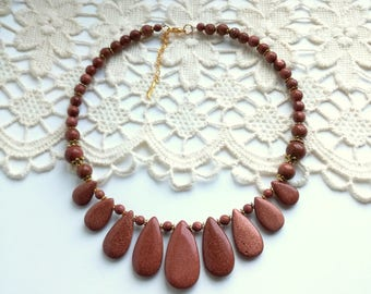 Avanturin Necklace, Holiday Party Jewelry, Gemstone Lucky Stone Choker Necklace, Brown necklace
