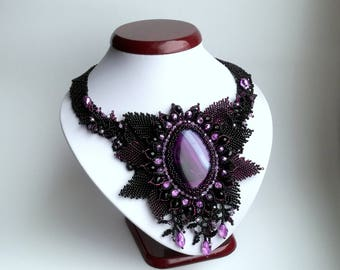 Agate Beadwork Necklace, Seed Bead Necklace, Gemstone necklace, Black/Purple necklace, crystals necklace.