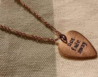 Not Fade Away copper petite guitar pick necklace