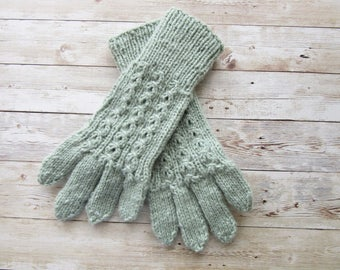 Blue Knitted Gloves, Knitted Women's Gloves, 5 finger Fall Gloves, Winter Gloves, Size M Gloves, READY TO SHIP
