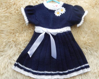 0-6 months hand-knitted navy daisy dress