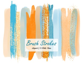 Sale watercolor Brush Strokes Clipart Hand painted Orange Brush Stroke clip art watercolor Brush Logo Clipart Digital Design Commercial use