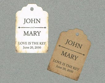 Wedding Tags, Set of 50, Love is the Key Tags, Printed Tags, Wedding Shower Tags, Tags, Wedding Favor, Thank You Tag