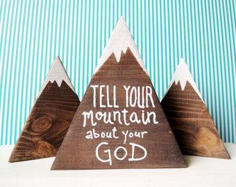 Bible verse sign, Bible verse art, Scripture signs, Scripture art, Scripture on wood, Mountains quote, Mountain art, Bible verse on wood