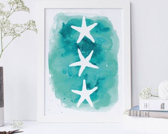 Watercolor Print, Sea Star Decor, Starfish Art Print, Seastar Prints, Aqua Art Print, Sea Star Art, Nursery Wall Art, Coastal Decor Beach