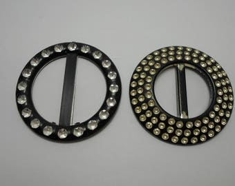 "2 Vintage Belt Buckles, Plastic Foiled Buckles, 2 3/4"" Belt Buckles, Black and Silver Buckles"
