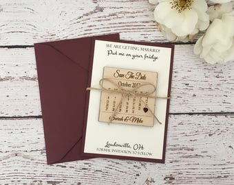 25 calendar save the date, wooden save the date, save the date magnet, custom save the date, rustic save the date