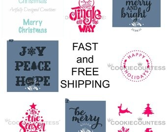 FAST and FREE SHIPPING!! Christmas Cookie Stencils Bundle, Christmas Cookie Stencil, Christmas Cookies, Cookie Stencils, Christmas Cookies