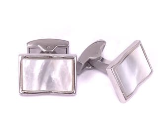 Rectangle Curvy Mother of Pearl Cufflinks