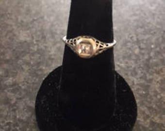 SUMMER SALE: Art Deco Filigree 14k White Gold Diamond Engagement Ring