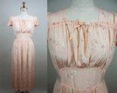 1940s Nightgown / CC41 Label / Vintage Peach Nightdress / 1940s Slip / 40s Nightie / Floral Rayon Slip / Size Medium / S M L