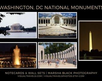 Washington DC Monuments Photography, Washington DC Monuments Wall Art Collection,  Washington DC Monuments card set