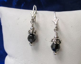 Sterling Silver Dangle Earrings with Blue Slate Colored Stone