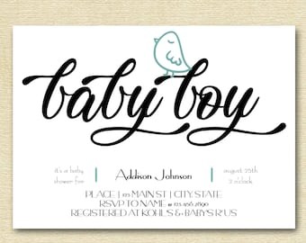 Modern Little Bird Baby Shower Invitation || Printable