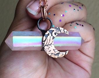 Crescent Luna Angel Aura Rose Quartz Necklace