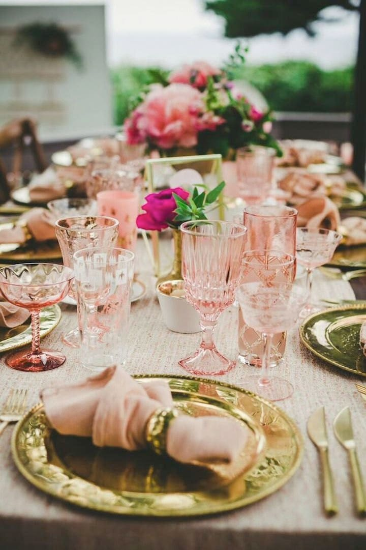 colored glass table setting