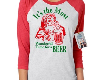 Christmas Holiday Shirt Most Wonderful Time for a Beer Shirt Womens 3/4 Raglan Sleeve T-Shirt