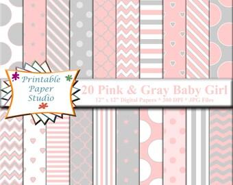 Pink, White & Gray Baby Girl Digital Paper Pack, Baby Digital Paper, Pink Digital Paper, Gray Digital Paper, Pink Scrapbook Paper 12x12