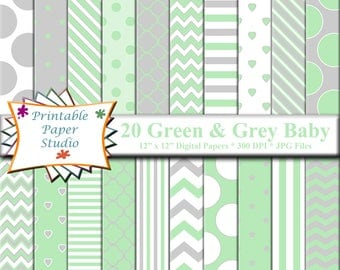 Mint Green White & Grey Baby Shower Digital Paper Pack, Baby Digital Paper, Green Scrapbook Paper for Cardmaking, Baby Shower Paper Download