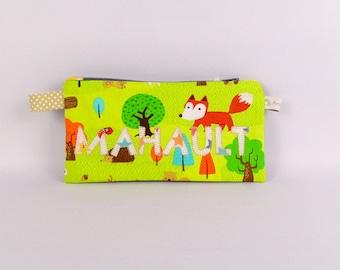 Trousse école personnalisée prénom Mahault trousse renard école primaire personnalisable cadeau enfant anniversaire  pochette crayon