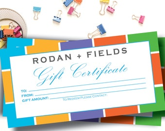 Rodan and Fields Gift Certificate / Instant Download Gift Certificate / Rodan + Fields Gifts / RF / 4 x 8 Digital File