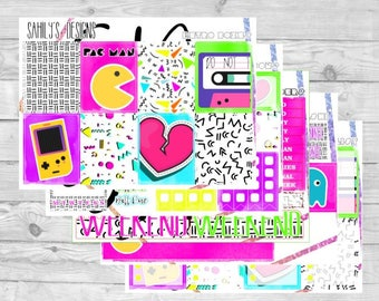 RETRO Collection // Erin Condren // The Happy Planner // Sticker Kit // Summer stickers// Spring  Stickers // sticker week set