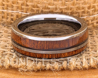 Hawaiian Koa Wood Inlay Ring Rose Gold Tungsten Ring Wood Wedding Band Dome Wedding Ring Promise Ring Women Men Tungsten Ring 8mm Dome New