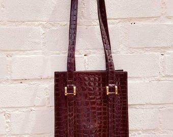 Vintage handbag - mock crocodile brown bag - vintage bags