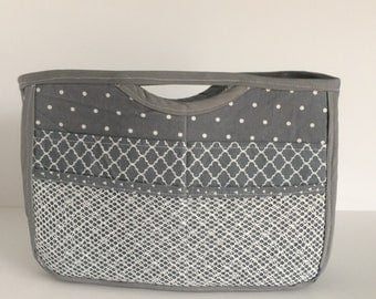 Grey and White Purse Organzier