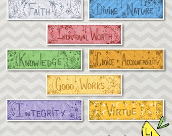LDS Bookmarks, Young Women Values, Cute Bookmarks, Cute Patterns, Printable Art, Hand drawn, , LDS Printables, lds bookmarks, lds handouts