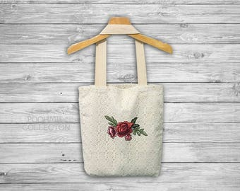 "White Lace Tote Bag with Red Flower, Fabrics Tote Bag, Vintage Bag -Size 14 1/2""(W)x16 1/2""(H)"