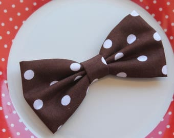"""Bow tie Brown """"Dots"""" cotton fabric"""