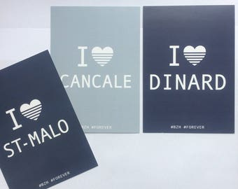Set of 3 postcards I ♡ SAINT-MALO ✭ / DINARD / CANCALE