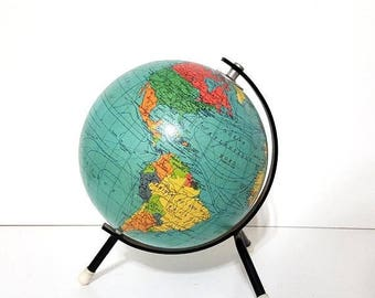 ON SALE Vintage world globe in French dated 1963 signed TARIDE . Travel decor !