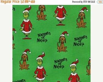 SALE How the Grinch Stole Christmas 6 Holiday  Fabric / Dr Seuss Christmas Fabric ADE- 15784-7 GREEN / 1 Yard Cut, 1/2 Yard Cuts, Fat Quarte