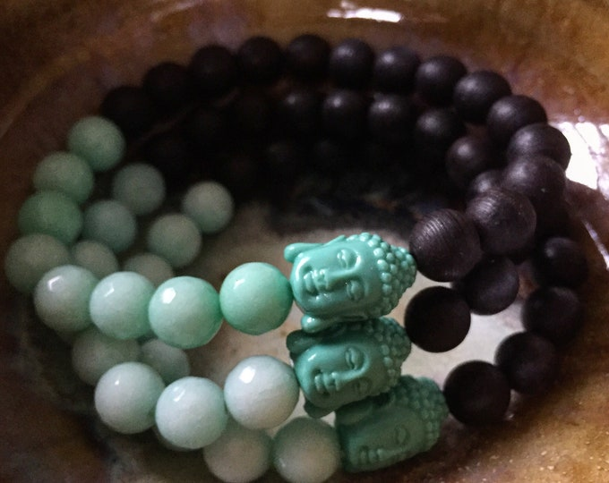 Black Sandalwood, Aqua Jade + Teal Buddha | Spiritual Junkies | Stackable Mala Inspired | Single (1) Yoga and Meditation Bracelet