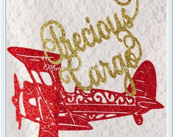 Precious Cargo Baby Shower Cake Topper - Airplane Cake Topper - Baby Shower Decor - Baby Shower Decorations - Precious Cargo Decorations