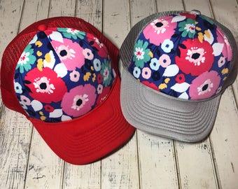 Spring hat, floral hat, floral trucker hat, floral fabric hat, ariebdesigns, floral trucker hat