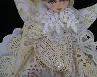 Vintage Lace cloth doll/Cloth doll with Vintage Lace/Shabby Chic lace doll