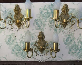 Gorgeous Set of 3 ~ Wall Lights Dressed in Lead Crystal